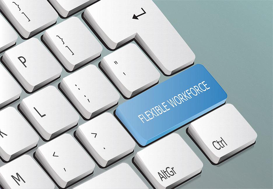 key named flexible workforce on a keyboard